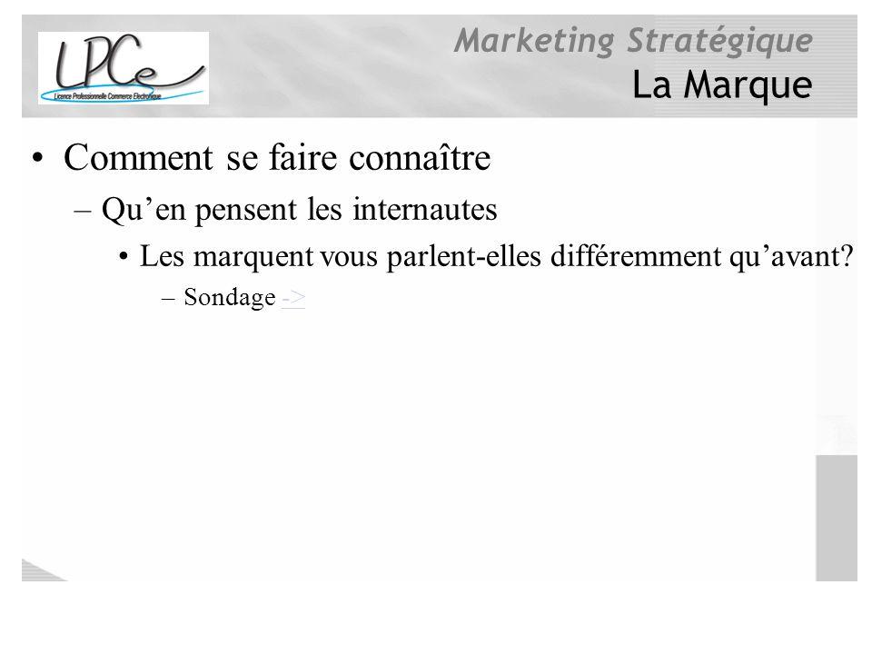 Marketing Stratégique La Marque Comment se faire connaître –Quen pensent les internautes Les marquent vous parlent-elles différemment quavant? –Sondag