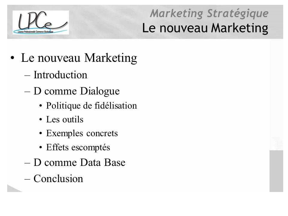 Marketing Stratégique Le nouveau Marketing –Introduction –D comme Dialogue Politique de fidélisation Les outils Exemples concrets Effets escomptés –D