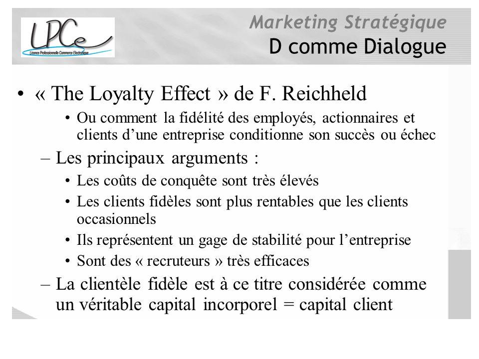 Marketing Stratégique D comme Dialogue « The Loyalty Effect » de F. Reichheld Ou comment la fidélité des employés, actionnaires et clients dune entrep