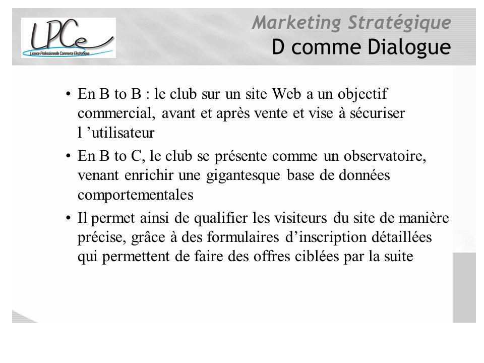 Marketing Stratégique D comme Dialogue En B to B : le club sur un site Web a un objectif commercial, avant et après vente et vise à sécuriser l utilis