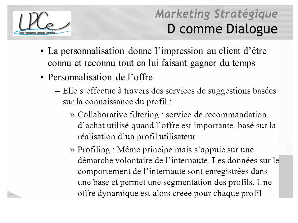 Marketing Stratégique D comme Dialogue La personnalisation donne limpression au client dêtre connu et reconnu tout en lui faisant gagner du temps Pers
