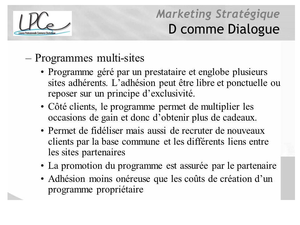 Marketing Stratégique D comme Dialogue –Programmes multi-sites Programme géré par un prestataire et englobe plusieurs sites adhérents. Ladhésion peut
