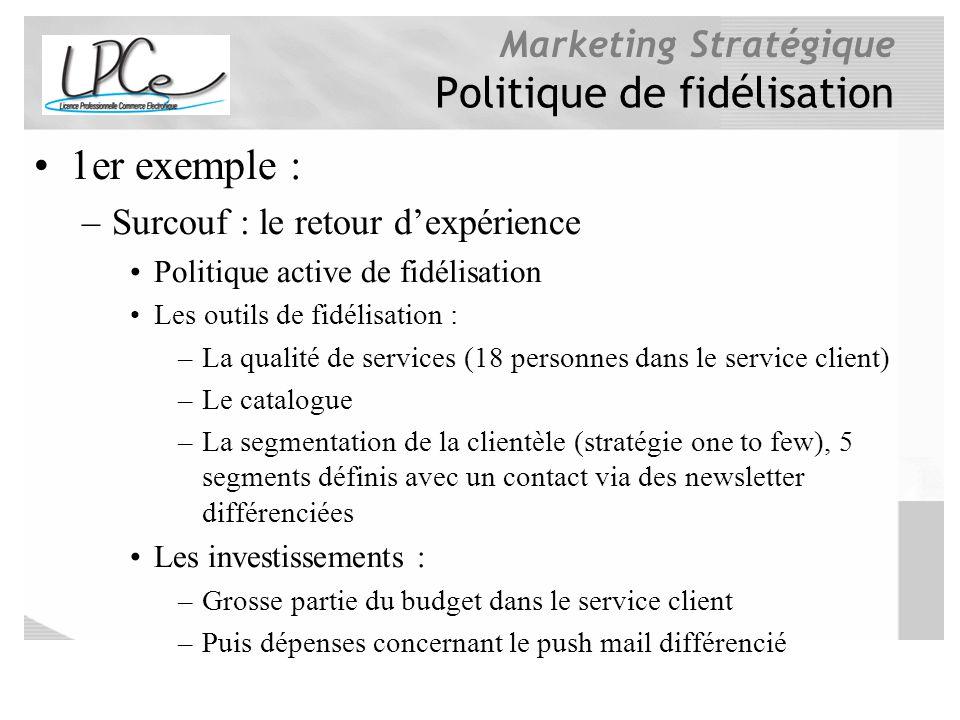 Marketing Stratégique Politique de fidélisation 1er exemple : –Surcouf : le retour dexpérience Politique active de fidélisation Les outils de fidélisa