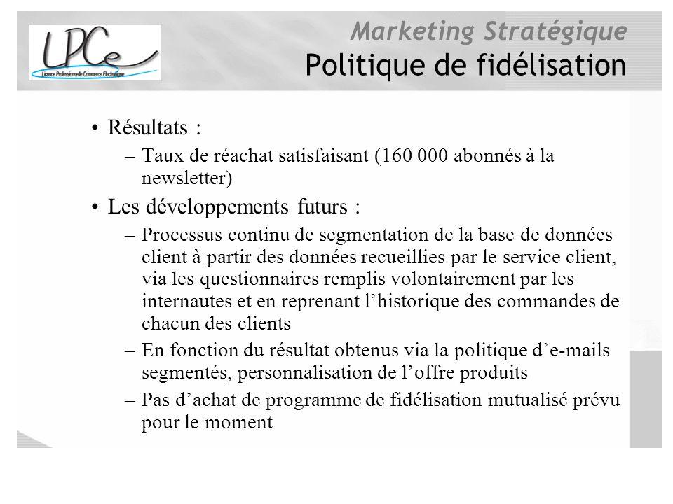 Marketing Stratégique Politique de fidélisation Résultats : –Taux de réachat satisfaisant (160 000 abonnés à la newsletter) Les développements futurs