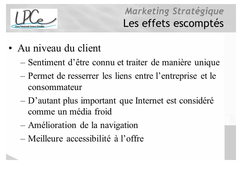 Marketing Stratégique Les effets escomptés Au niveau du client –Sentiment dêtre connu et traiter de manière unique –Permet de resserrer les liens entr