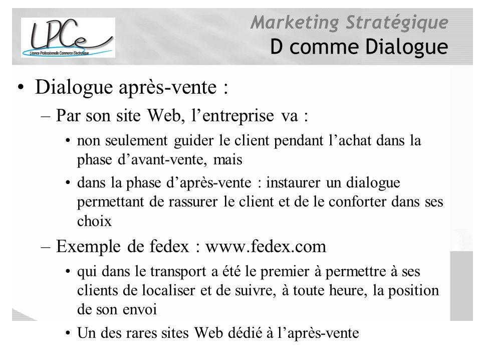 Marketing Stratégique D comme Dialogue Dialogue après-vente : –Par son site Web, lentreprise va : non seulement guider le client pendant lachat dans l