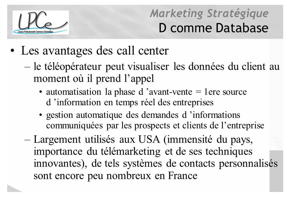 Marketing Stratégique D comme Database Les avantages des call center –le téléopérateur peut visualiser les données du client au moment où il prend lap