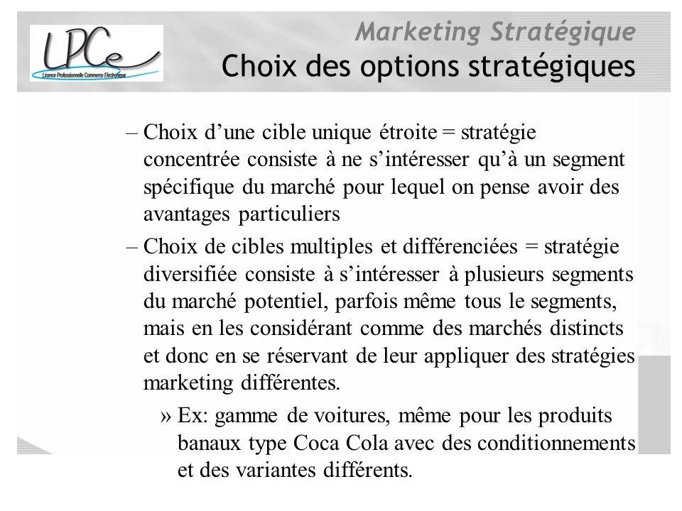 Marketing Stratégique Choix des options stratégiques –Choix dune cible unique étroite = stratégie concentrée consiste à ne sintéresser quà un segment