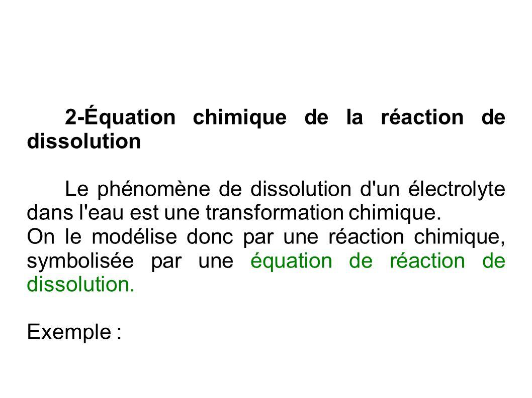 2-Équation chimique de la réaction de dissolution Le phénomène de dissolution d'un électrolyte dans l'eau est une transformation chimique. On le modél