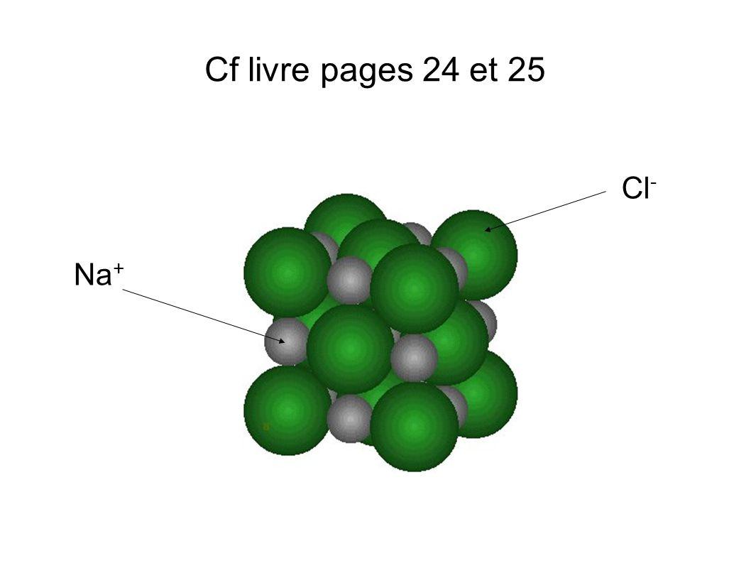 Cf livre pages 24 et 25 Cl - Na +