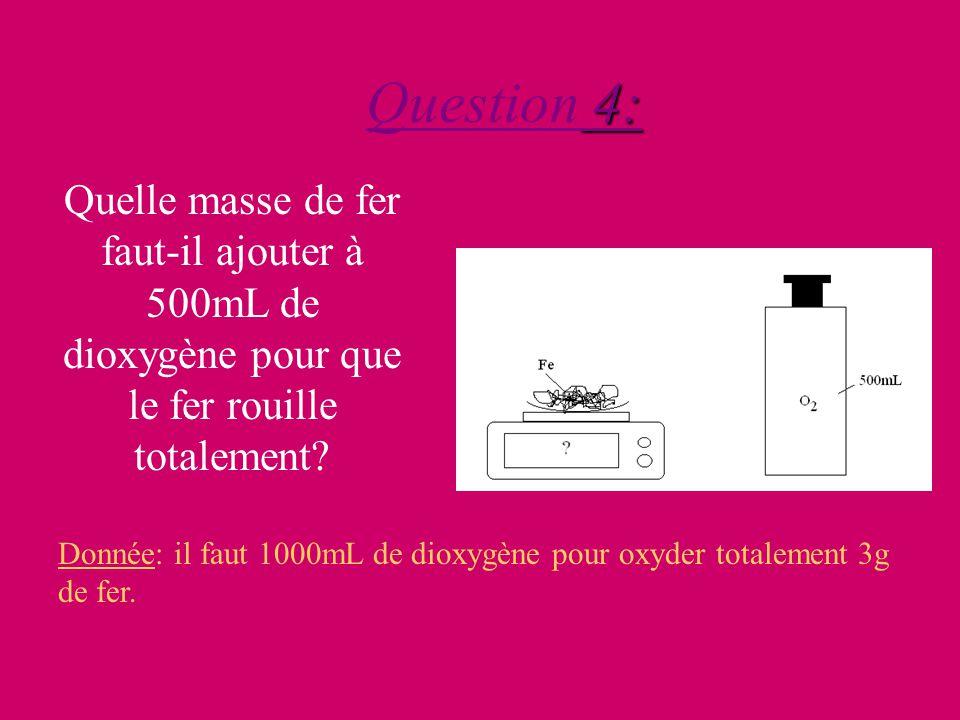 4: Question 4: Quelle masse de fer faut-il ajouter à 500mL de dioxygène pour que le fer rouille totalement.