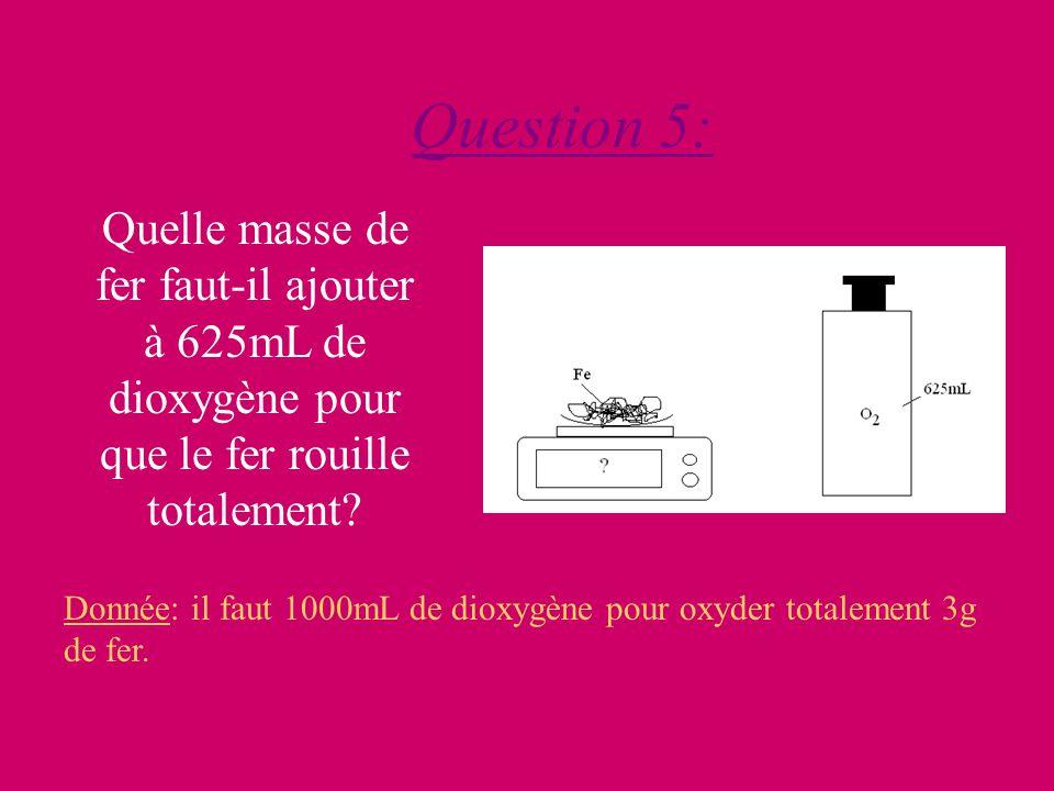 Question 5: Quelle masse de fer faut-il ajouter à 625mL de dioxygène pour que le fer rouille totalement.