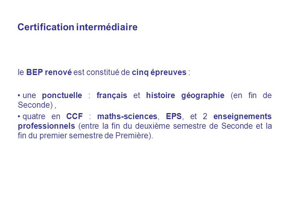 Certification intermédiaire le BEP renové est constitué de cinq épreuves : une ponctuelle : français et histoire géographie (en fin de Seconde), quatre en CCF : maths-sciences, EPS, et 2 enseignements professionnels (entre la fin du deuxième semestre de Seconde et la fin du premier semestre de Première).