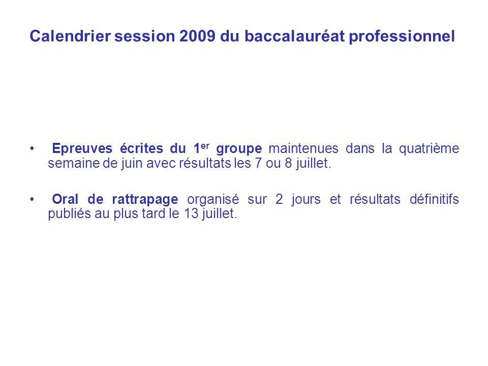 Calendrier session 2009 du baccalauréat professionnel Epreuves écrites du 1 er groupe maintenues dans la quatrième semaine de juin avec résultats les 7 ou 8 juillet.