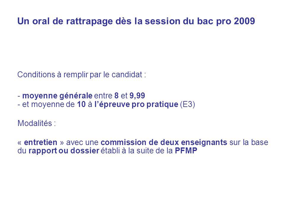 Un oral de rattrapage dès la session du bac pro 2009 Conditions à remplir par le candidat : - moyenne générale entre 8 et 9,99 - et moyenne de 10 à lépreuve pro pratique (E3) Modalités : « entretien » avec une commission de deux enseignants sur la base du rapport ou dossier établi à la suite de la PFMP