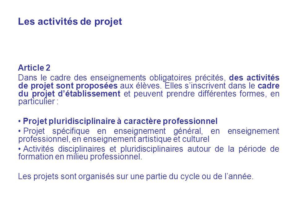 Les activités de projet Article 2 Dans le cadre des enseignements obligatoires précités, des activités de projet sont proposées aux élèves.