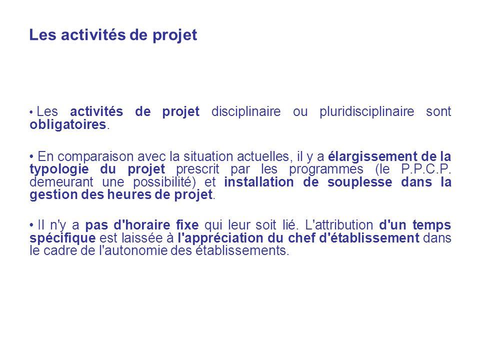 Les activités de projet Les activités de projet disciplinaire ou pluridisciplinaire sont obligatoires.