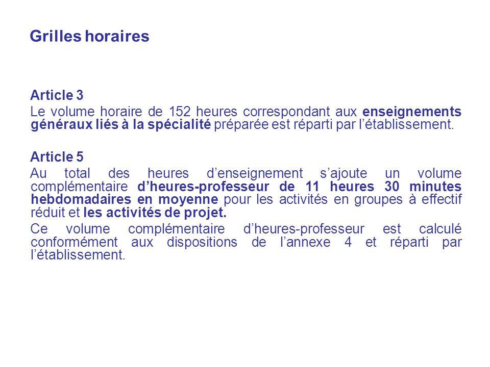 Grilles horaires Article 3 Le volume horaire de 152 heures correspondant aux enseignements généraux liés à la spécialité préparée est réparti par létablissement.