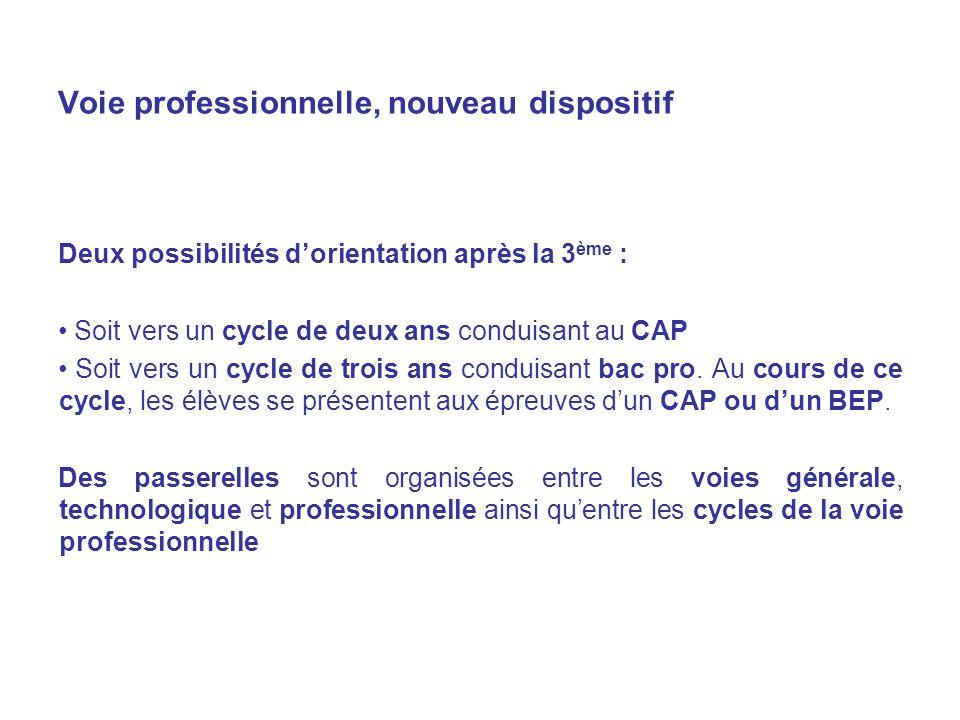 Voie professionnelle, nouveau dispositif Deux possibilités dorientation après la 3 ème : Soit vers un cycle de deux ans conduisant au CAP Soit vers un cycle de trois ans conduisant bac pro.