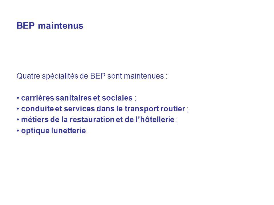 BEP maintenus Quatre spécialités de BEP sont maintenues : carrières sanitaires et sociales ; conduite et services dans le transport routier ; métiers de la restauration et de lhôtellerie ; optique lunetterie.
