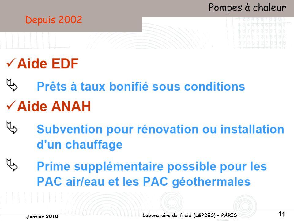 Conservatoire national des arts et métiers Laboratoire du froid (LGP2ES) – PARIS Janvier 2010 Votre titre Pompes à chaleur 11 Depuis 2002