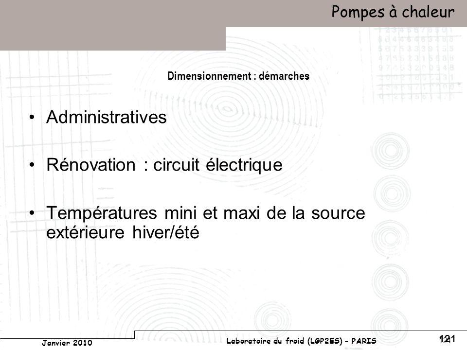 Conservatoire national des arts et métiers Laboratoire du froid (LGP2ES) – PARIS Janvier 2010 Votre titre Pompes à chaleur 121 Dimensionnement : démarches Administratives Rénovation : circuit électrique Températures mini et maxi de la source extérieure hiver/été