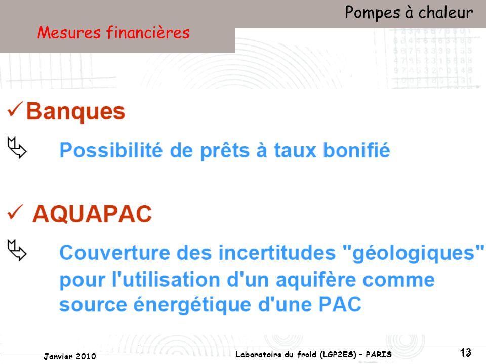 Conservatoire national des arts et métiers Laboratoire du froid (LGP2ES) – PARIS Janvier 2010 Votre titre Pompes à chaleur 13 Mesures financières
