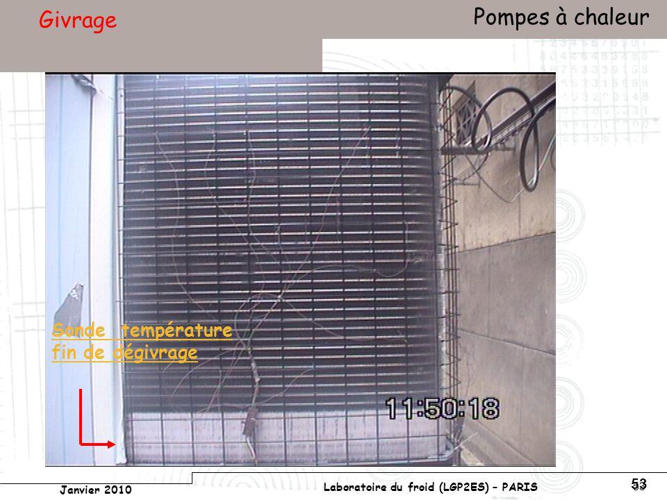 Conservatoire national des arts et métiers Laboratoire du froid (LGP2ES) – PARIS Janvier 2010 Votre titre Pompes à chaleur 53 Givrage Sonde température fin de dégivrage