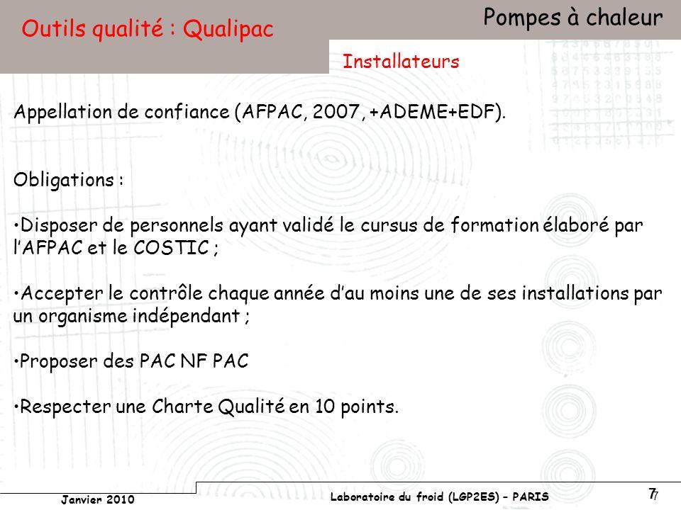 Conservatoire national des arts et métiers Laboratoire du froid (LGP2ES) – PARIS Janvier 2010 Votre titre Pompes à chaleur 7 7 Outils qualité : Qualipac Appellation de confiance (AFPAC, 2007, +ADEME+EDF).