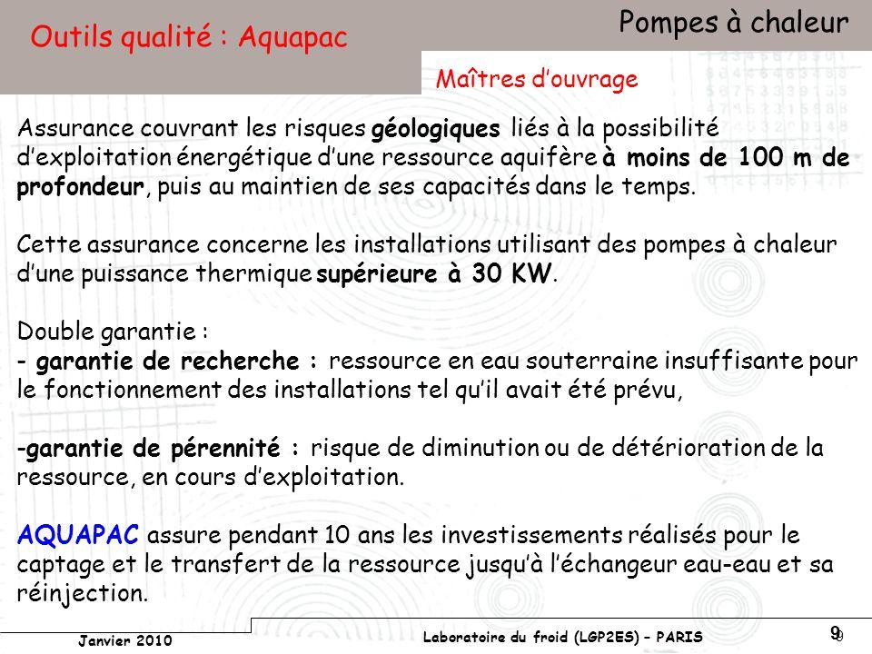 Conservatoire national des arts et métiers Laboratoire du froid (LGP2ES) – PARIS Janvier 2010 Votre titre Pompes à chaleur 9 9 Outils qualité : Aquapac Assurance couvrant les risques géologiques liés à la possibilité dexploitation énergétique dune ressource aquifère à moins de 100 m de profondeur, puis au maintien de ses capacités dans le temps.