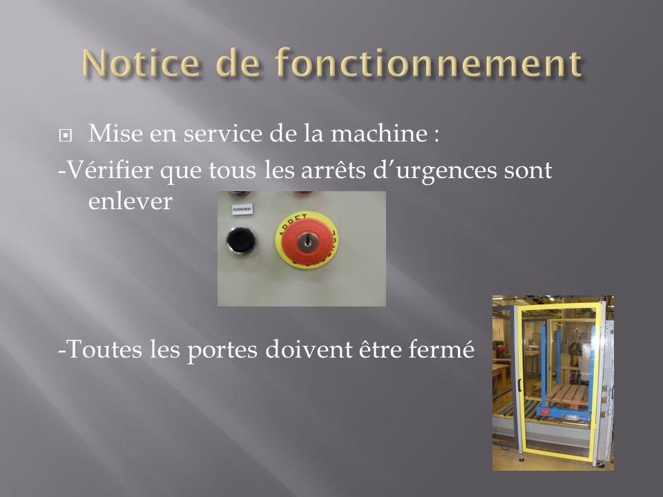 Mise en service de la machine : -Vérifier que tous les arrêts durgences sont enlever -Toutes les portes doivent être fermé