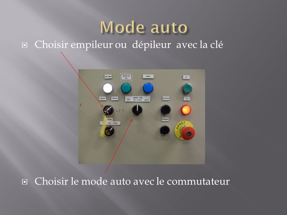 Choisir empileur ou dépileur avec la clé Choisir le mode auto avec le commutateur