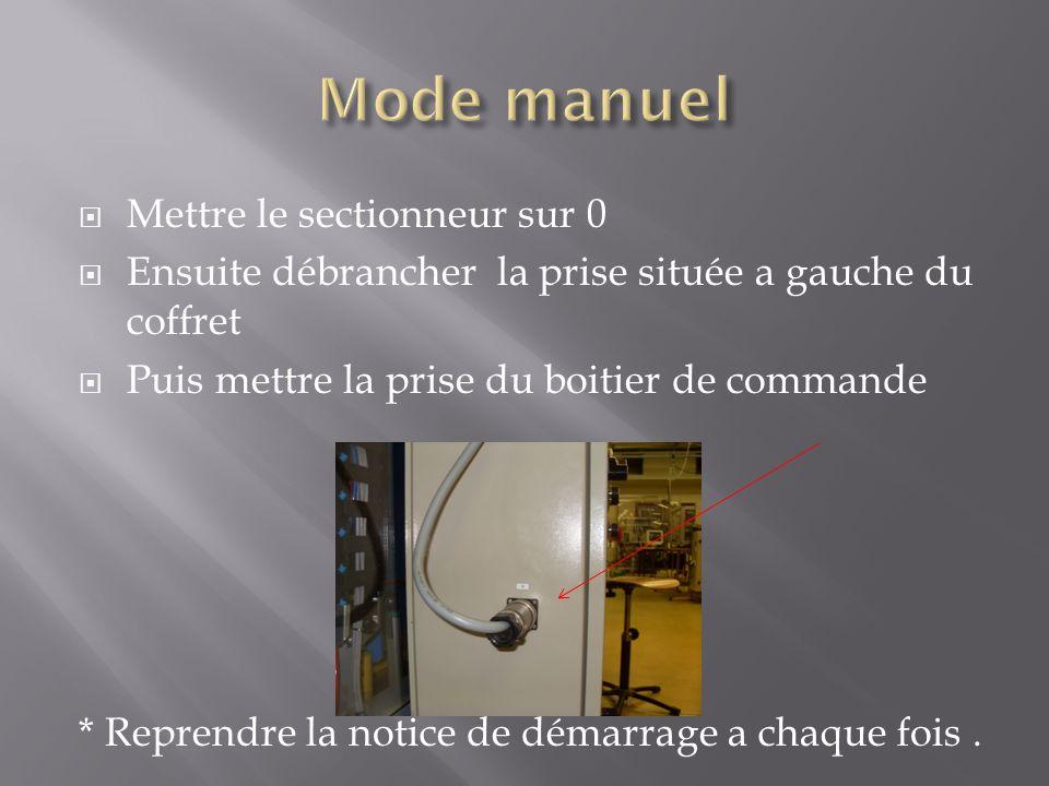 Mettre le sectionneur sur 0 Ensuite débrancher la prise située a gauche du coffret Puis mettre la prise du boitier de commande * Reprendre la notice de démarrage a chaque fois.