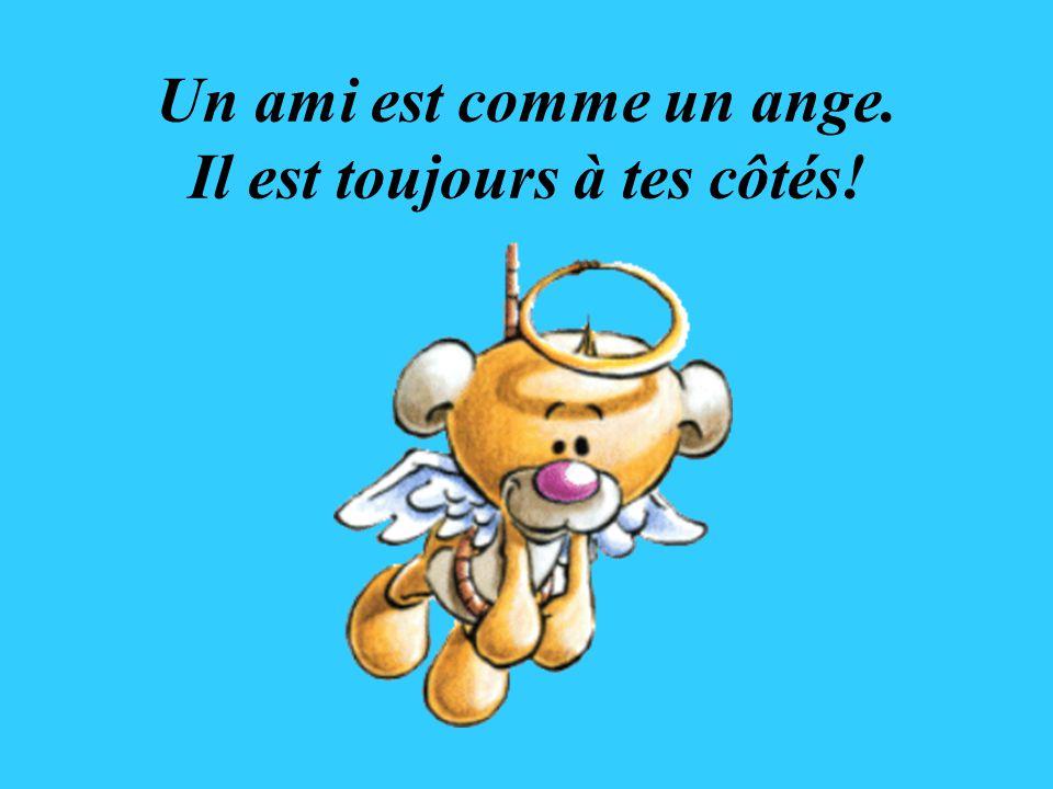 Un ami est comme un ange. Il est toujours à tes côtés!