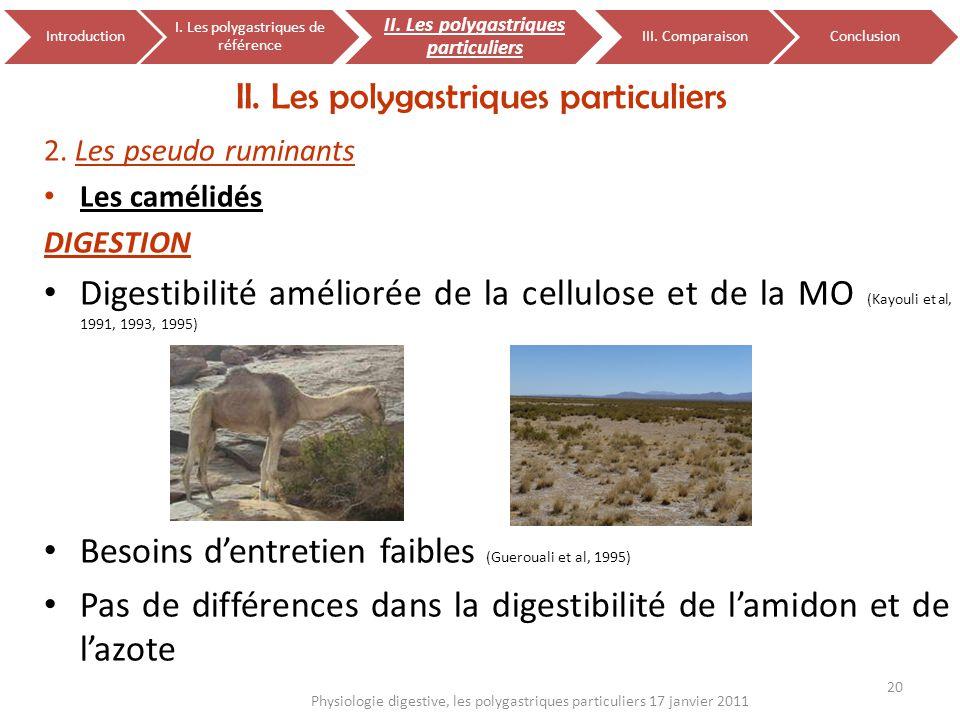 2. Les pseudo ruminants Les camélidés DIGESTION Digestibilité améliorée de la cellulose et de la MO (Kayouli et al, 1991, 1993, 1995) Besoins dentreti