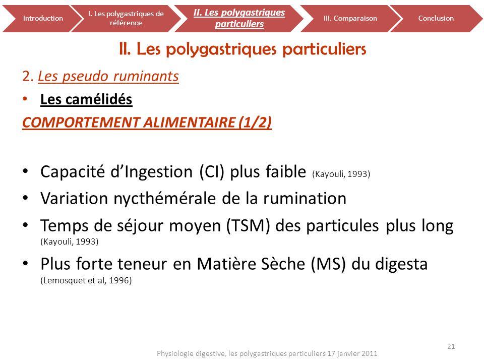 2. Les pseudo ruminants Les camélidés COMPORTEMENT ALIMENTAIRE (1/2) Capacité dIngestion (CI) plus faible (Kayouli, 1993) Variation nycthémérale de la