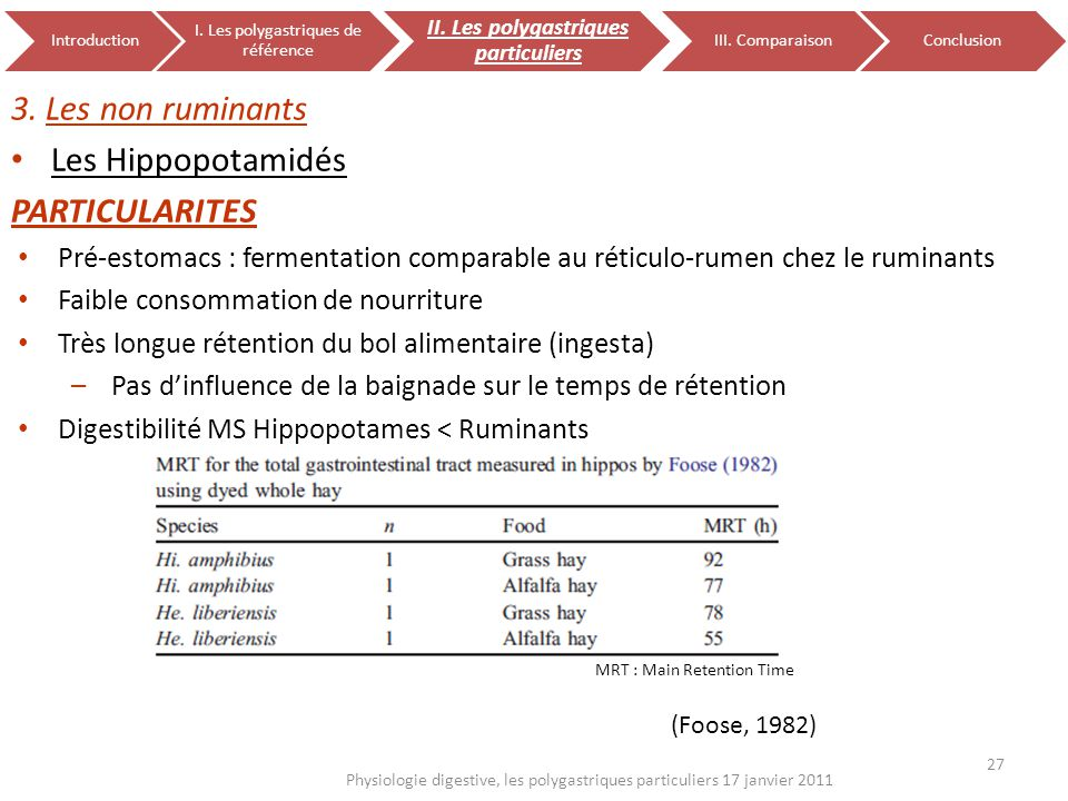 27 Physiologie digestive, les polygastriques particuliers 17 janvier 2011 Introduction I. Les polygastriques de référence II. Les polygastriques parti