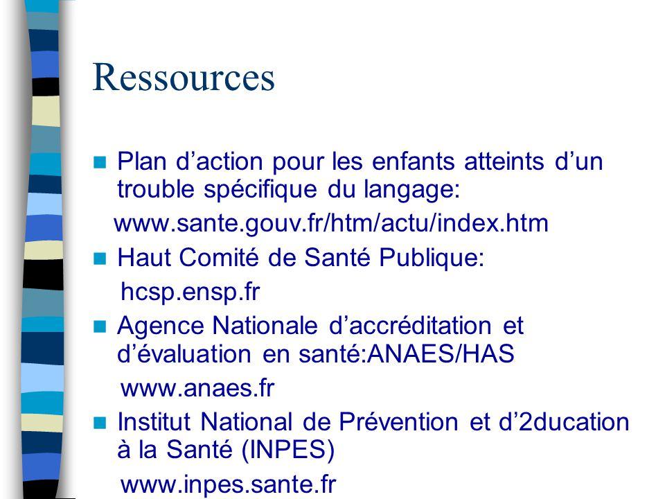 Ressources Plan daction pour les enfants atteints dun trouble spécifique du langage: www.sante.gouv.fr/htm/actu/index.htm Haut Comité de Santé Publiqu