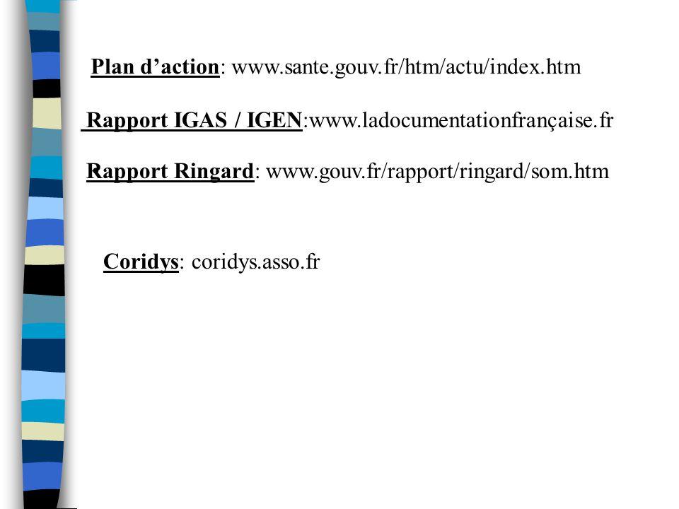 Plan daction: www.sante.gouv.fr/htm/actu/index.htm Rapport Ringard: www.gouv.fr/rapport/ringard/som.htm Rapport IGAS / IGEN:www.ladocumentationfrançai