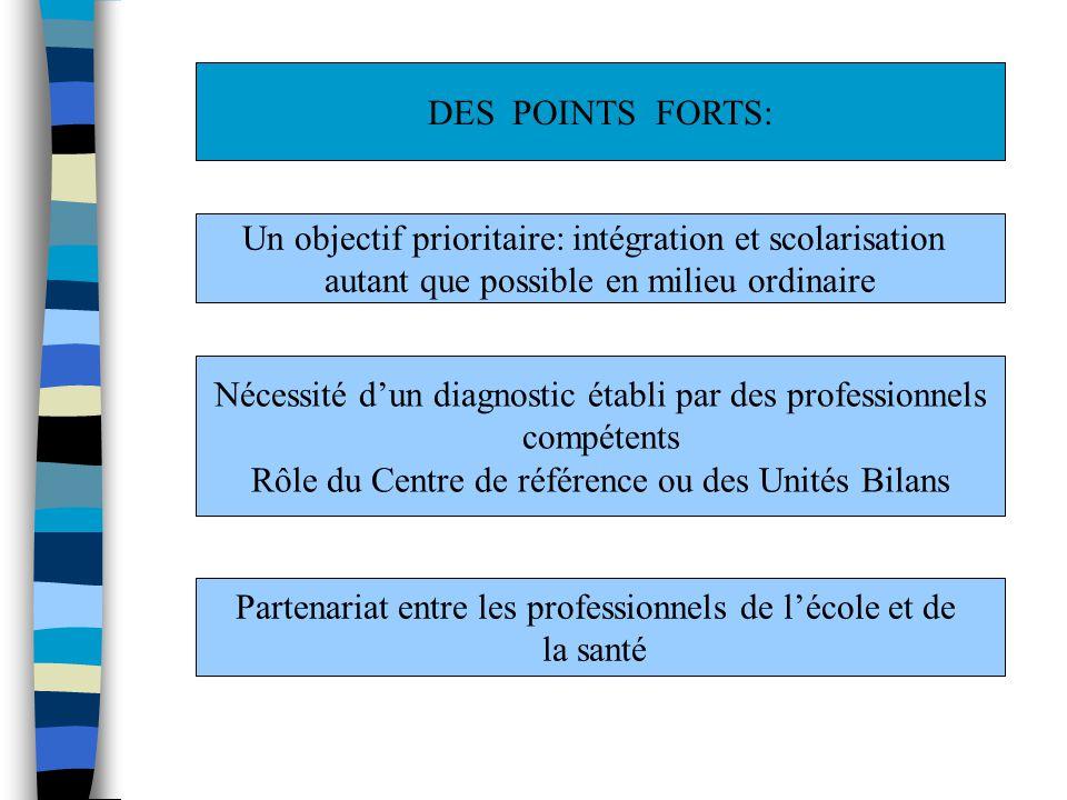 DES POINTS FORTS: Un objectif prioritaire: intégration et scolarisation autant que possible en milieu ordinaire Nécessité dun diagnostic établi par de
