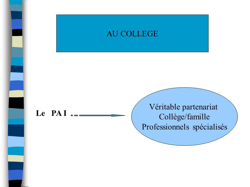 AU COLLEGE Le PA I Véritable partenariat Collège/famille Professionnels spécialisés