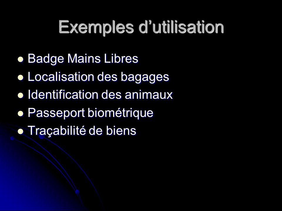 Exemples dutilisation Badge Mains Libres Badge Mains Libres Localisation des bagages Localisation des bagages Identification des animaux Identificatio