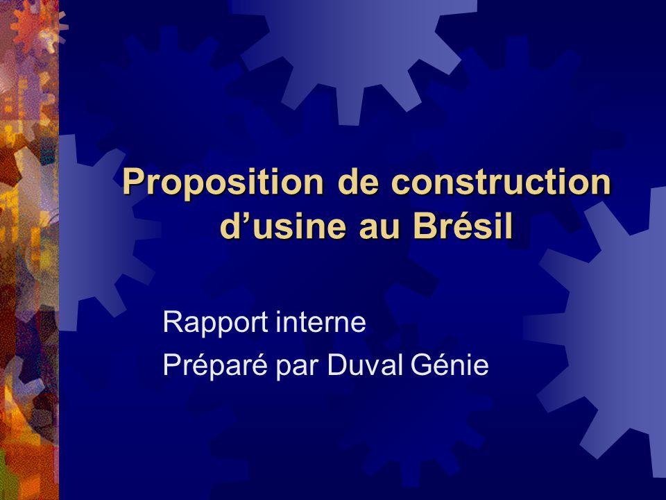 Proposition de construction dusine au Brésil Rapport interne Préparé par Duval Génie