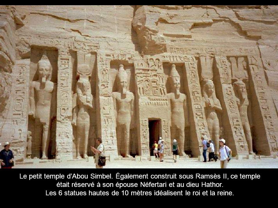Dans le cadre de la campagne de sauvegarde des monuments dÉgypte, la majorité des monuments de cette présentation furent déplacés avant la construction du grand barrage dAssouan.