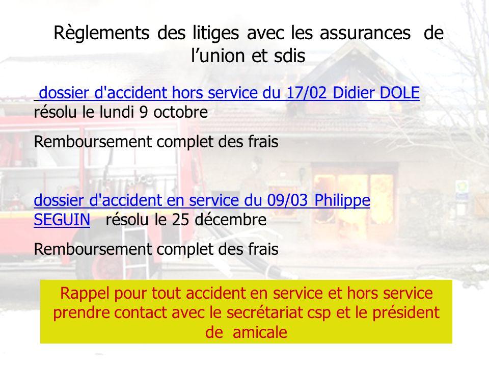 Règlements des litiges avec les assurances de lunion et sdis dossier d'accident hors service du 17/02 Didier DOLE résolu le lundi 9 octobre Remboursem