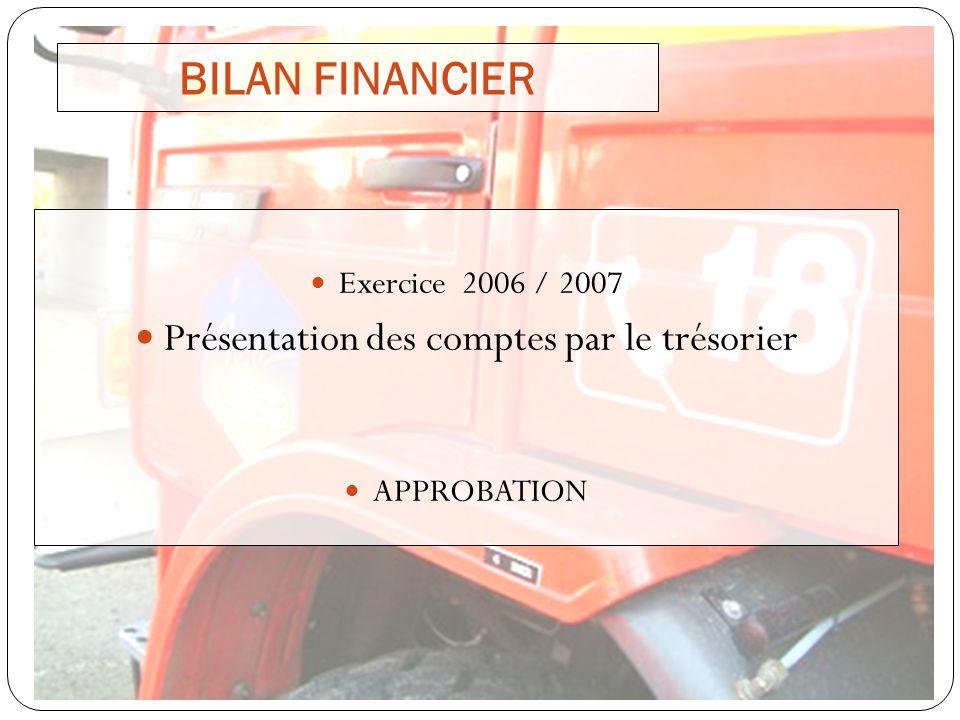 BILAN FINANCIER Exercice 2006 / 2007 Présentation des comptes par le trésorier APPROBATION