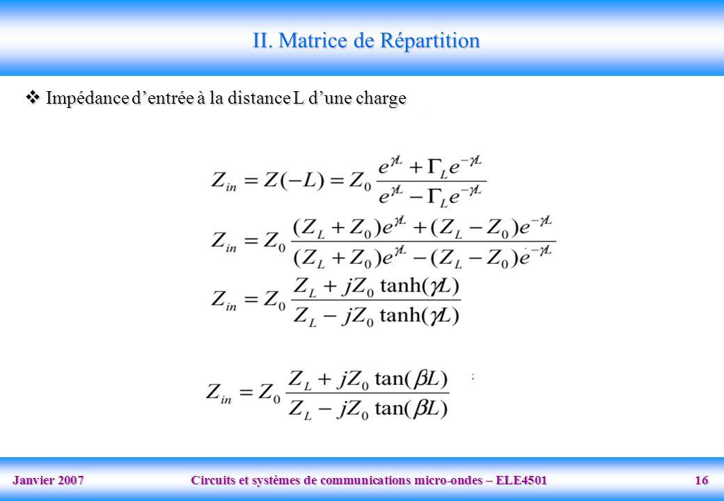 Janvier 2007 Circuits et systèmes de communications micro-ondes – ELE4501 16 II. Matrice de Répartition Impédance dentrée à la distance L dune charge