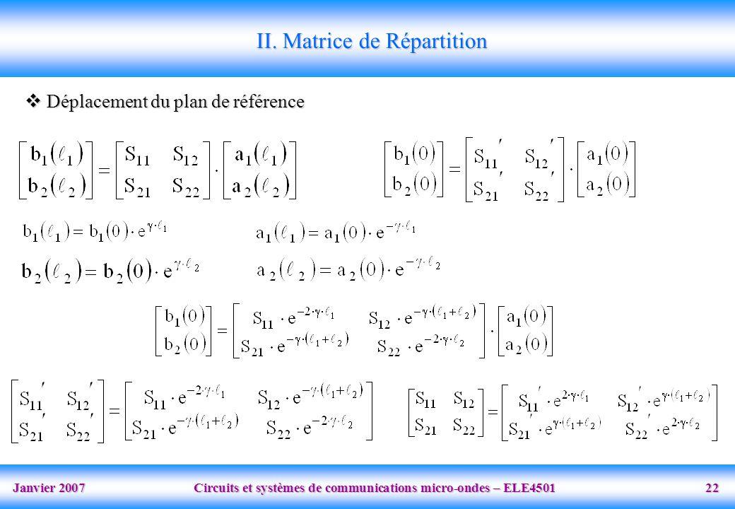 Janvier 2007 Circuits et systèmes de communications micro-ondes – ELE4501 22 II. Matrice de Répartition Déplacement du plan de référence Déplacement d