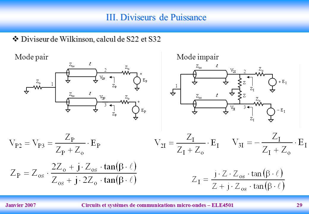 Janvier 2007 Circuits et systèmes de communications micro-ondes – ELE4501 29 1 2 3 1 2 3 III. Diviseurs de Puissance Diviseur de Wilkinson, calcul de