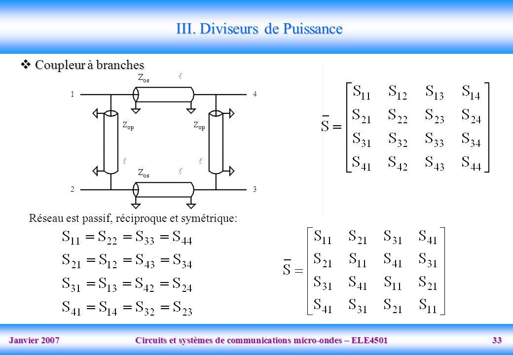 Janvier 2007 Circuits et systèmes de communications micro-ondes – ELE4501 33 1 2 4 3 III. Diviseurs de Puissance Coupleur à branches Coupleur à branch